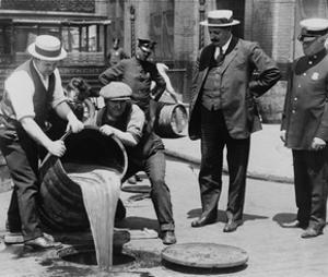 Prohibition Agents Dump Liquor Into Sewer, NYC by Science Source
