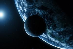 Earth And Moon, Artwork by SCIEPRO