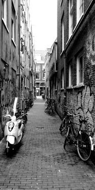 Scooters and Bicycles Parked in a Street, Amsterdam, Netherlands