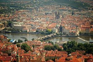 Bird's-Eye View on the Prague ,Charles Bridge on the Vitava River with Instagram Effect Filter by scorpp
