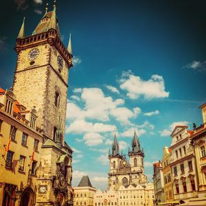 Tyn Cathedral Church and Famous Astronomical Clock, Prague, Czech Republic . Instagram Effect by scorpp