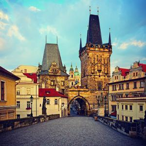 View on the Prague ,Charles Bridge ,Lesser Bridge Tower. Instagram Effect by scorpp
