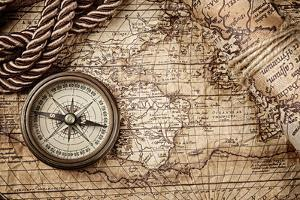 Vintage Still Life With Compass And Old Map by scorpp