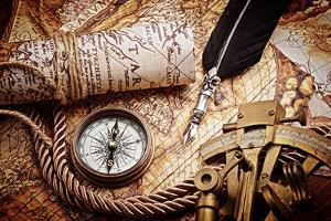 Vintage Still Life with Compass,Sextant and Old Map.Map Used for Background is in Public Domain. Ma by scorpp