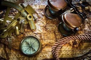 Vintage Still Life With Compass,Sextant And Old Map by scorpp