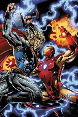 Iron Man/Thor No.3: Thor and Iron Man Fighting by Scot Eaton