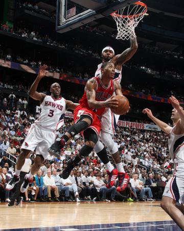 Chicago Bulls v Atlanta Hawks - Game Three, Atlanta, GA - MAY 6: Derrick Rose and Josh Smith by Scott Cunningham