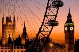 England, London, Westminster, London Eye and Big Ben at Dusk by Scott E Barbour