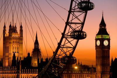 England, London, Westminster, London Eye and Big Ben at Dusk