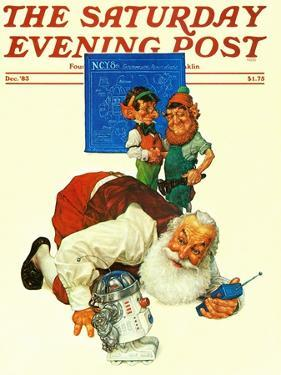 """""""Santa and the Robot,"""" Saturday Evening Post Cover, December 1, 1983 by Scott Gustafson"""