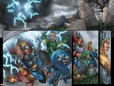 Thor: Blood Oath No.4 Group: Thor, Hogun, Volstagg and Fandral
