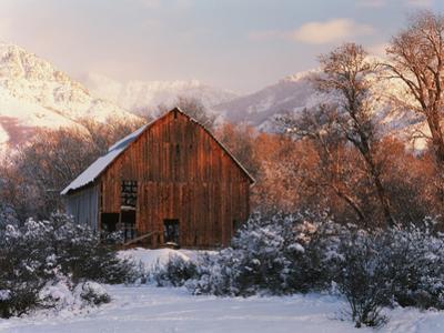 Barn Below Bear River Range in Winter, Utah, USA by Scott T. Smith