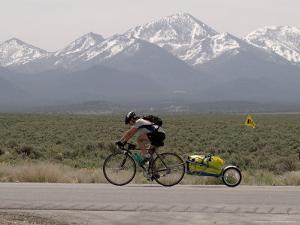 Cross-Country Bicyclist, US Hwy 50, Toiyabe Range, Great Basin, Nevada, USA by Scott T. Smith