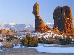 La Sal Mountains, Balanced Rock at Sunset, Arches National Park, Utah, USA by Scott T. Smith