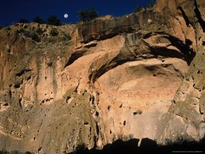 Moonrise over Painted Cave, Pueblo Rock Art, Bandelier National Monument, New Mexico, USA by Scott T. Smith
