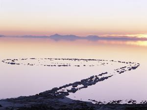 Spiral Jetty Above Great Salt Lake, Utah, USA by Scott T^ Smith