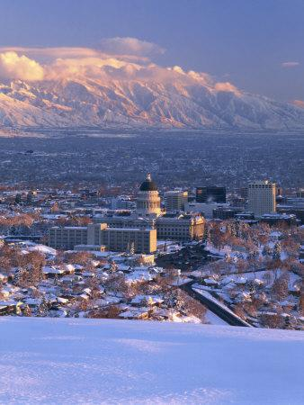 Utah State Capitol with the Wasatch Mountains, Salt Lake City, Utah