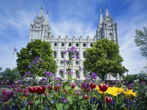 View of Lds Temple with Flowers in Foreground, Salt Lake City, Utah, USA by Scott T. Smith