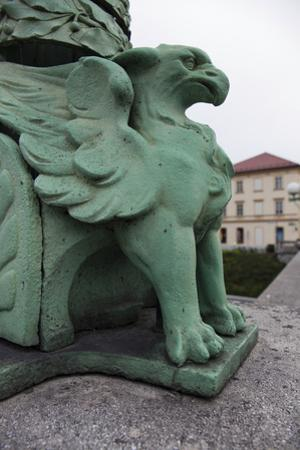 Detail of the Dragon Bridge in Old Town, Ljubljana, Slovenia by Scott Warren