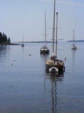 Moored Sailboat Near New Harbor, Maine by Scott Warren