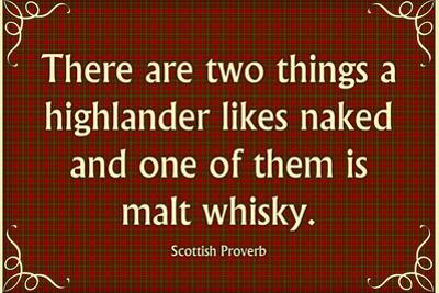 Scottish Proverb Things a Highlander Likes Naked Plastic Sign