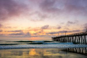 A Beautiful Cloudy Sunrise Captured at the Virginia Beach Fishing Pier by Scottymanphoto