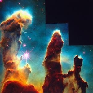 Hubble Space Telescope View of Dense Clumps and Tendrils of Interstellar Hydrogen by Scowen