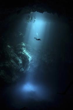Scuba Diver Descends into the Pit Cenote in Mexico