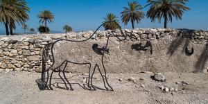 Sculpture of horse at Tel Megiddo, Galilee, Israel