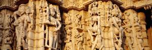 Sculptures Carved on a Wall of a Temple, Jain Temple, Ranakpur, Rajasthan, India