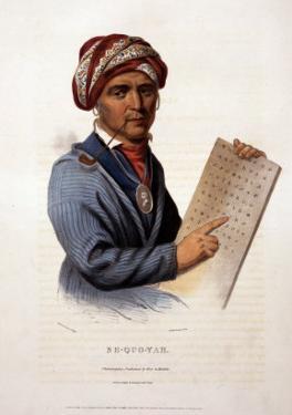 Se-Quo-Yah, Holding Cherokee Alphabet, 1828