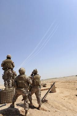 Seabees Watch Rockets Fire Overhead