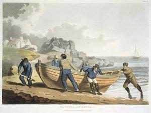Seamen Hauling a Clinker-Built Dinghy Up onto the Shore, 1821