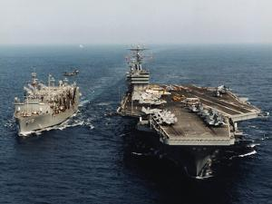 USS Abraham Lincoln and USS Kalamazoo Performing Exercise by Sean C. Linehan