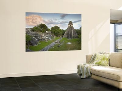 Grand Plaza with Temple of Great Jaguar (Temple I) at Right, in Mayan Ruins of Tikal