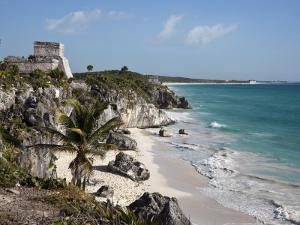 Tulum Ruins Along Caribbean Coastline by Sean Caffrey