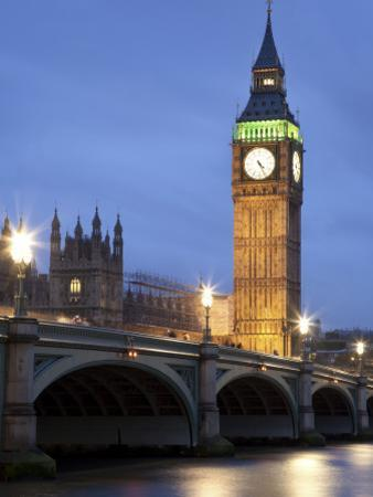 Westminster Parliament across River Themes at Dusk
