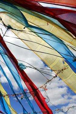 Colorful Tibetan Prayer Flags Fly Against a Blue Sky by Sean Gallagher