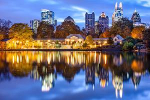 Atlanta, Georgia, USA Downtown City Skyline at Piedmont Park's Lake Meer by Sean Pavone