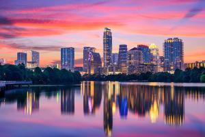 Austin, Texas, USA Skyline on the Colorado River by Sean Pavone