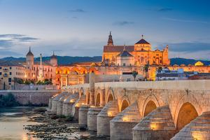 Cordoba, Spain View of the Roman Bridge and Mosque-Cathedral on the Guadalquivir River by Sean Pavone