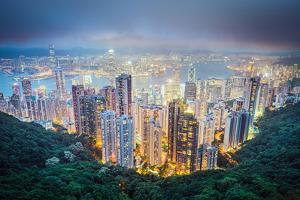 Hong Kong, China City Skyline from Victoria Peak by Sean Pavone