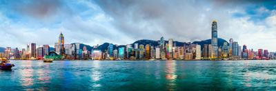 Hong Kong, China Skyline Panorama from across Victoria Harbor