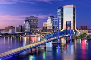 Jacksonville, Florida, USA City Skyline on St. Johns River by Sean Pavone