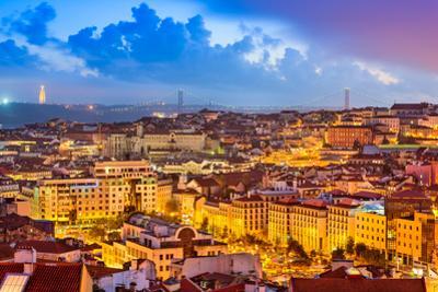 Lisbon, Portugal Skyline at Sunset by Sean Pavone