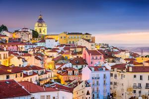 Lisbon, Portugal Twilight Cityscape at the Alfama District by Sean Pavone