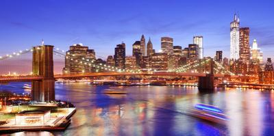 Lower Manhattan from Above the East River in New York City by Sean Pavone