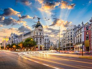 Madrid, Spain Cityscape at Calle De Alcala and Gran Via. by Sean Pavone