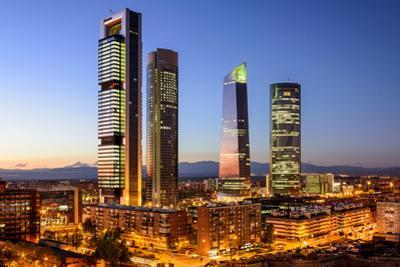 Madrid, Spain Financial District Skyline at Twilight by Sean Pavone