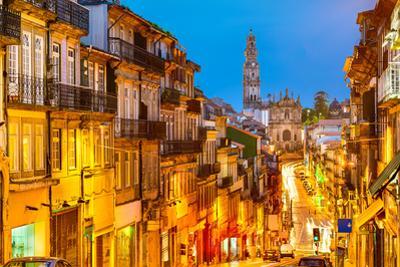 Porto, Portugal Cityscape Towards Clerigos Church by Sean Pavone